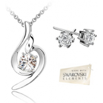 Clear Swarovski Elements Pendant & Earrings Set With 18k White Gold Plating